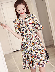 Women's Going out Swing Dress,Floral Crew Neck Knee-length Short Sleeve Cotton Summer High Rise Micro-elastic Sheer