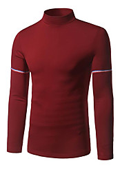Men's Going out Casual/Daily Street chic Regular Pullover,Solid Shirt Collar Long Sleeve Polyester Spandex Fall Winter Thick Stretchy