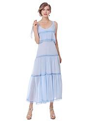 Mujer Línea A Vestido Noche Casual/Diario Simple Bonito Chic de Calle,Un Color Escote en Pico Midi Sin Mangas Algodón Verano OtoñoTiro