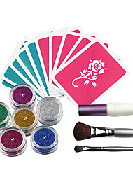 OPHIR 6 Colors Powder Temporary Glitter Tattoo Kit for Body Art Paint with Tattoo Stencils Makeup Painting