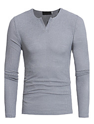 Men's Plus Size Casual/Daily Simple Regular Pullover,Solid Striped V Neck Long Sleeves Cotton Spring Fall (1/3 inch) 9 Medium Stretchy