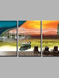 Pintados à mão Viagem Artistíco Férias Escritório/Negócio Moderno/Contemporâneo Natal Ano Novo 3 Painéis Tela Pintura a Óleo For