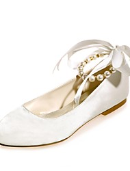 Women's Wedding Shoes Ballerina Satin Spring Summer Wedding Party & Evening Dress Pearl Ribbon Tie Flat HeelLuminous Champagne Blue Ruby