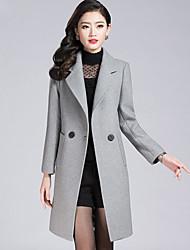 Для женщин На выход На каждый день Большие размеры Зима Пальто Рубашечный воротник,Простой Однотонный Обычная Длинный рукав,Полиэстер