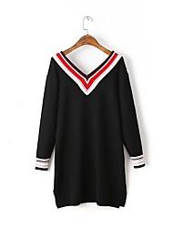Для женщин На выход На каждый день Простое Уличный стиль Свободный силуэт Прямое Трикотаж Платье Однотонный Контрастных цветов,V-образный