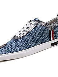 Men's Sneakers Comfort PU Spring Fall Casual Lace-up Plaid Flat Heel Khaki Blue Black Flat