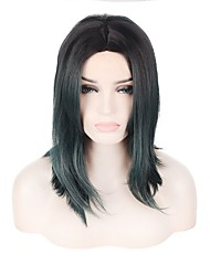 Short Lenght Dark Green Color Fashinon Trendy Wave Natural Looking Capless Wig Durable High Temperature Heat Resistant Synthetic Hair New Design