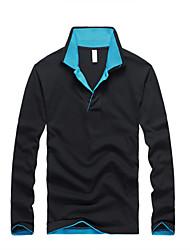 Herren Einfarbig Einfach Ausgehen Lässig/Alltäglich Übergröße T-shirt,Hemdkragen Herbst Langarm Baumwolle Dünn