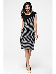 Women's Party Club Bodycon Dress,Striped Color Block Boat Neck Above Knee Sleeveless Modal Summer Mid Rise Stretchy Thin