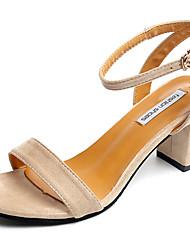 Damen Sandalen Komfort Pumps PU Frühling Sommer Kleid Party & Festivität Schnalle Blockabsatz Schwarz Mandelfarben 5 - 7 cm