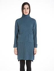 Для женщин На каждый день Простое Длинный Пуловер Однотонный С принтом,Хомут Длинный рукав Шерсть Мех енота Осень Зима Толстая