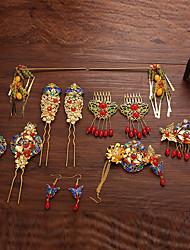 Crystal Rhinestone Alloy Headpiece-Wedding Hair Combs Flowers Hair Clip Hair Pin Hair Stick 7 Piece