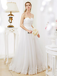 Princess Sweetheart Floor Length Lace Tulle Wedding Dress with Criss-Cross Ruching by LAN TING BRIDE®