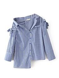 Для женщин На выход На каждый день Лето Рубашка С открытыми плечами,Секси Простое Уличный стиль Полоски Контрастных цветов Шахматка