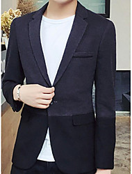 Men's Party/Cocktail Going out Casual/Daily Work Simple Street chic Spring Summer Blazer,Color Block Peaked Lapel Long Sleeve Regular