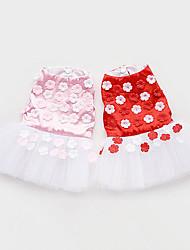 Chien Robe Vêtements pour Chien Décontracté / Quotidien Floral/Botanique Rouge Rose