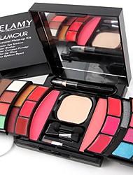 2 Coloretes Polvo Compacto+Sombras de Ojos Lápices de Ojos Lápices de Cejas+Brillos de Labios+Espejo Borla Para Maquillaje/Esponja