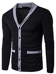 Men's Casual/Daily Simple Regular Cardigan,Solid V Neck Long Sleeves Wool Spring Fall Medium Stretchy