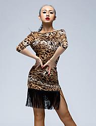 Danse latine Robes Femme Spectacle Soie Glacée 1 Pièce La moitié des manches Taille moyenne Robes