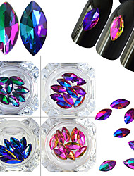 4Bottles/Set Crystal Glitter Nail Art Horse Eye Flame Rhinestones DIY Colorful Flame Crystal Shining Decoration Nail Art DIY Beauty Charm Accessory