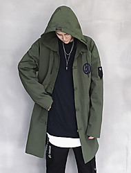 Men's Going out Casual/Daily Simple Street chic Spring Fall Trench Coat,Solid Hooded Long Sleeve Long Polyester Spandex Others