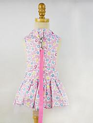 Chien Robe Vêtements pour Chien Décontracté / Quotidien Floral/Botanique Bleu Rose