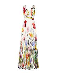 Feminino Bainha Vestido,Festa Feriado Para Noite Casual Vintage Boho Floral Decote V Longo Sem Manga Poliéster Outono Inverno Cintura Alta