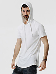 Men's Casual/Daily Simple Spring Summer T-shirt,Camouflage Hooded Short Sleeves Polyester