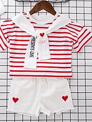 Girls' Stripe Sets,Cotton Polyester Summer Short Sleeve Clothing Set