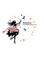 Flowers Fairy Girl Beauty Wall Stickers Floral Beautiful Faery Quote Bloom Wall Decals Home Decor For Baby Kids Room Living Room