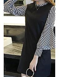 Fodero Vestito Da donna-Casual Monocolore Rotonda Sopra il ginocchio Manica lunga Cotone Primavera A vita medio-alta Anelastico Opaco