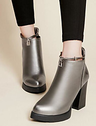 Women's Boots Comfort PU Winter Casual Comfort Silver Black White 4in-4 3/4in
