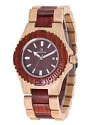 Жен. Часы Дерево Японский Кварцевый деревянный Дерево Группа С подвесками Люкс Элегантные часы Красный Кот