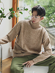 Men's Casual/Daily Short Pullover,Solid Color Block Turtleneck Long Sleeves Wool Others Spring Fall Thin Stretchy