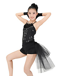 MiDee Dresses Performance Spandex / Sequined Paillettes / Feathers /Fur / Sequins / Tiers 4 Pieces Ballet Sleeveless High