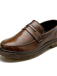 Men's Loafers & Slip-Ons Comfort Leather Casual Low Heel Blue Ruby Brown Gray Black