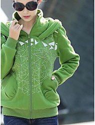 Women's Casual/Daily Simple Hoodie Solid Print Hooded Stretchy Cotton Long Sleeve Winter