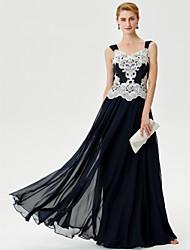Linha A Longo Chiffon Vestido Para Mãe dos Noivos  -  Apliques Detalhes em Cristal de LAN TING BRIDE®