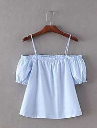 Damen Solide Einfach Lässig/Alltäglich T-shirt,Bateau Kurzarm Polyester