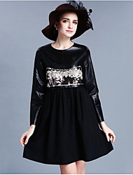 Women's Club Sexy Swing Dress,Solid Round Neck Knee-length Long Sleeve Silk Summer Mid Rise Micro-elastic Sheer