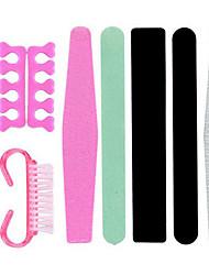9pcs Manicure Tools Set Nail File Push Rod Fork Dead Skin Polishing
