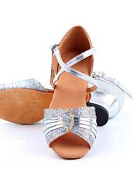 Kids' Latin Leather Sandals Indoor Flat Heel Blue Silver Gold