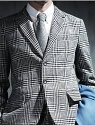 Men's Party/Cocktail Going out Casual/Daily Work Street chic Fall Winter Blazer,Houndstooth Peaked Lapel Long Sleeve Regular Polyester
