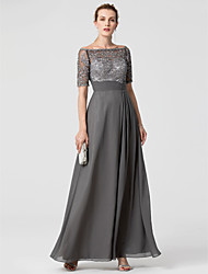 A-Line Off-the-shoulder Floor Length Chiffon Lace Formal Evening Dress with Beading Sash / Ribbon by TS Couture®