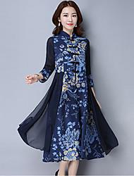Mujer Corte Swing Vestido Noche Tallas Grandes Vintage,Estampado Escote Chino Midi Manga Larga Algodón Lino Poliéster Otoño Tiro Medio