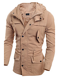 Men's Casual/Daily Simple Fall Winter Jacket,Solid Round Neck Long Sleeve Regular PU