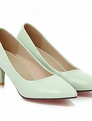 Damen Schuhe PU Frühling Pumps High Heels Stöckelabsatz Mit Für Normal Weiß Schwarz Gelb Rot Grün
