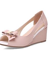 Damen Sandalen Pumps PU Sommer Hochzeit Kleid Schleife Keilabsatz Beige Purpur Rosa 5 - 7 cm