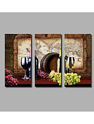 Fashion New Still Life Oil Painting On Canvas Red Wine Home Wall Art Decor Posters Oak Barrel 3 Pieces Framed HD Large Printed