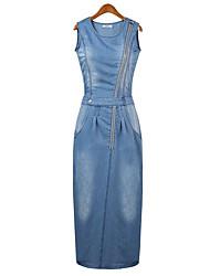 Jeans Vestito Da donna-Casual Tinta unita Stondata Medio Senza maniche Altro Primavera Estate A vita medio-alta Media elasticitàMedio